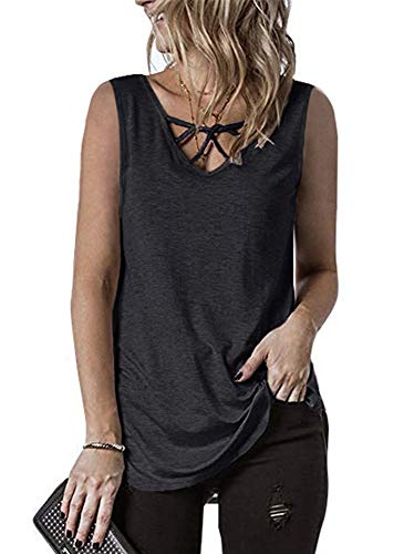 ONLYSHE Women Oversized T-Shirt Front Criss Cross V Neck Tank Tops Dark Gray XXL