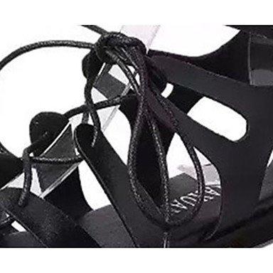 LvYuan Mujer-Tacón Plano-Confort-Sandalias-Vestido Informal-PU-Negro Blanco Black