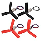 uxcell 2pair DC3.7V 29000RPM 7mm x 20mm Motor w Black Red 3-Vanes CW CCW Propeller