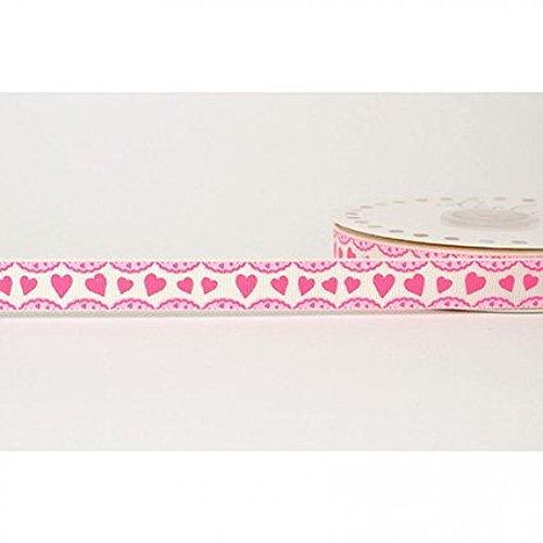 (16mm Reel Chic Heart Frill Print Grosgrain Ribbon Antique White - per metre)