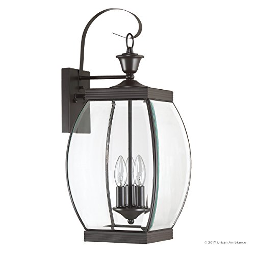 Luxury Colonial Outdoor Wall Light, Large Size: 22.5''H x 9''W, with Transitional Style Elements, Bowed Design, Gorgeous Dark Medieval Bronze Finish and Beveled Glass, UQL1172 by Urban Ambiance by Urban Ambiance (Image #7)