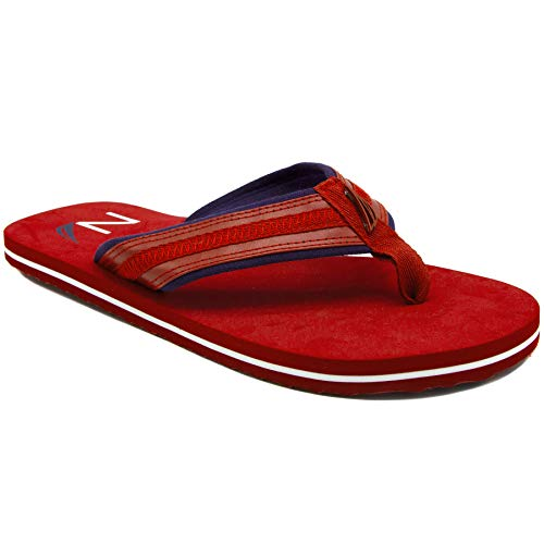 Nautica Men's Flip Flops Light Comfort Beach Sandal, Flat Thong Slides-Timmons-Red-10 -