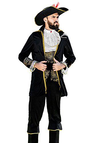 Adult Men Royal Pirate Costume Admiral Blackbeard Privateer Dress Up Role Play (Medium/Large, Black, White, (Adult Pirate Outfits)