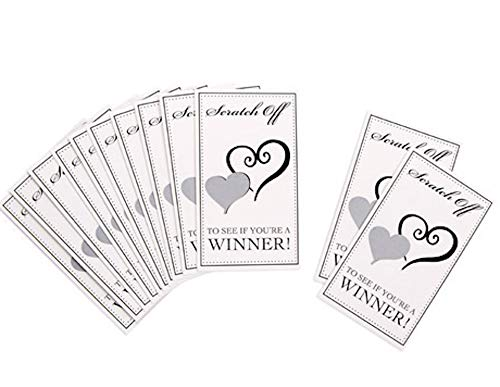 60 Bridal Shower Scratch Off Cards Double Heart Bridal ()