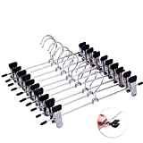 HQSHOP Trouser Hangers, Strong Metal Pant/Skirt Hangers with Clips, 10 Pack Non Slip Clothes Jean Hangers with 360°Rotatable Chrome Swivel Hooks