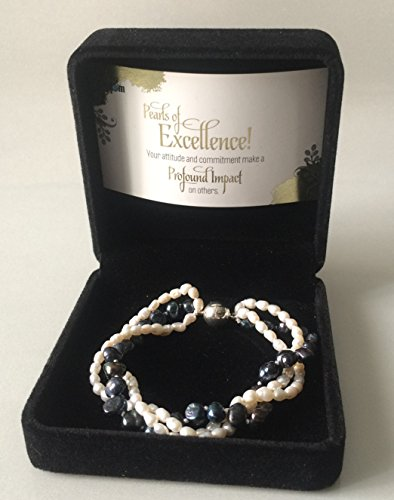 Smiling Wisdom - 3-Strand Pearls of Excellence Business Employee Award & Recognition - Cultured Freshwater Pearl Bracelet with Magnetic Clasp - Thank You, Recognition (Congrats On A Job Well Done)