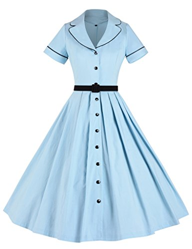 [GownTown Women's 1950sVintage Classical Casual Swing A-line Dress, Light Blue (Medium)] (1950 Dress)