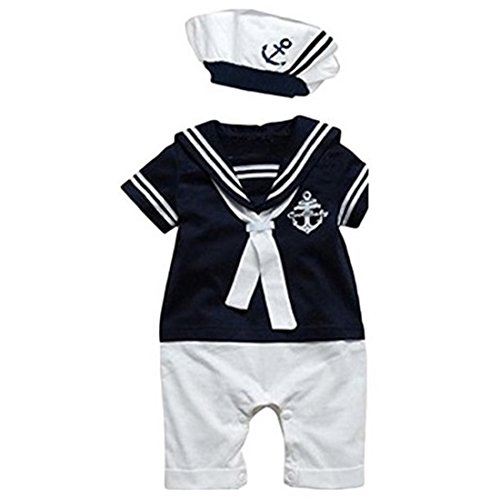 Newborn Baby Boy Anchor Sailor Navy Marine Striped Rompers Tuxedo All-in-one Bodysuit (Paisley Wedding Invitations)