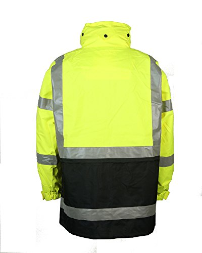 Safety Depot Two Tone Lime Yellow Black Reflective Class 3 Safety Parka Jacket With Zipper and Pockets 736c-3 2