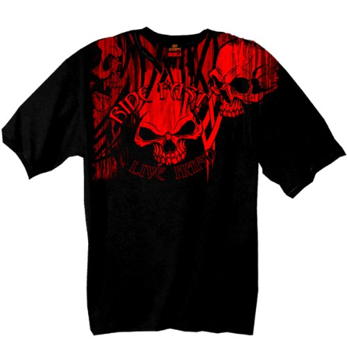 Shorts Short Ride Sleeve (Hot Leathers Over the Top Skull 100% Cotton Double Sided Printed Biker T-Shirt)