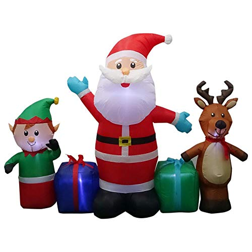 Home Accents 6.50 ft. W Pre-lit Inflatable Santa,Reindeer and Elf Collection Airblown Scene ()