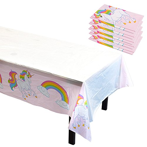 Blue Panda Unicorn Rainbow Party Tablecloths - 6-Pack Disposable Plastic Rectangular Table Covers - Party Supplies Kids Birthday, Decorations in Pink White, 54 x 108 inches