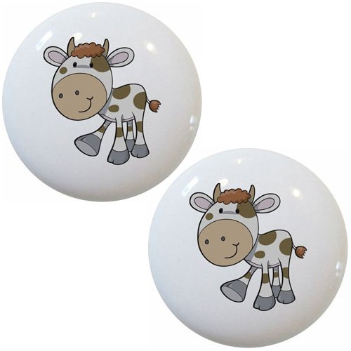 Set of 2 Spotted Cow Farm Animal Ceramic Cabinet Drawer Pull Knobs -