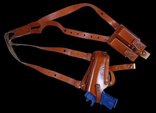 - K446 Vertical-Horizontal Shoulder & Belt Holster with Double Mag Pouch Fits Beretta CZ 75 Browning HP Sig Sauer with 4