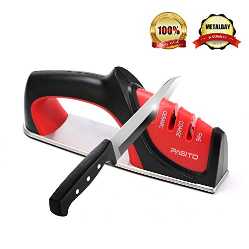 Pasito Knife Sharpener, 3-Stage Sharpening Tool With Diamond, Coarse-Tungsten & Fine Ceramic Slots (Red)