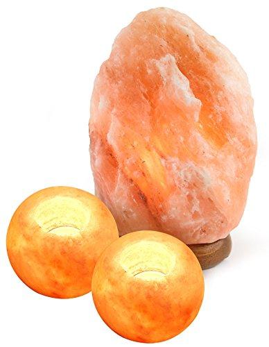 Crystal Allies Gallery: Natural Himalayan Salt Lamp and 2 Piece Candle Holder Combo