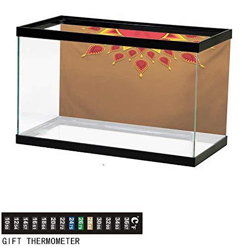 (Aquarium Background,Diwali,Oriental Paisley Design with Sun Beams Like Details for Festive Celebration Theme Print,Caramel Fish Tank Backdrop 48