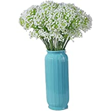 Veryhome 5pcs White Plastic Baby's Breath Gypsophila Bush with Smaller Clusters of Flowers on Each Stem