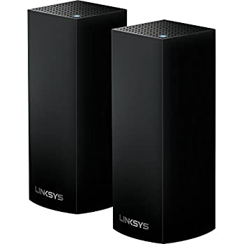Linksys WHW0302B Velop Tri-band Whole Home WiFi Intelligent Mesh System, 2-Pack Black, Works with Alexa