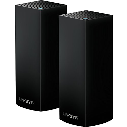Linksys  Velop Tri-band Whole Home WiFi Mesh System, 2-Pack in Black (coverage up to 4000 sq. ft), Router Replacement for Home Network, Works with Amazon Alexa (WHW0302B) by Linksys