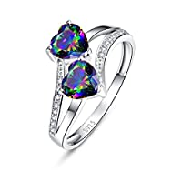 Merthus Womens 925 Sterling Silver Created Mystic Rainbow Topaz Heart Ring