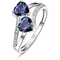 Merthus 925 Sterling Silver 1 cttw Heart Natural Mystic Rainbow Topaz Ring Valentine's Day gift