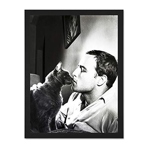 Doppelganger33 LTD Vintage Actor Marlon Brando Kissing Kitten Cat Large Framed Art Print Poster Wall Decor 18x24 inch Supplied Ready to Hang