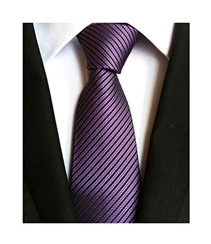 Secdtie Mens Dark Purple Woven Tie HANDMADE Luxury Suit Necktie Birthday Present ()