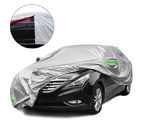 Tecoom Waterproof UV-Proof Windproof Design Car Cover with Zipper Storage and Lock for All Weather Indoor Outdoor Fit 191-200 inches Sedan (Best Car Cover For Indoor Storage)