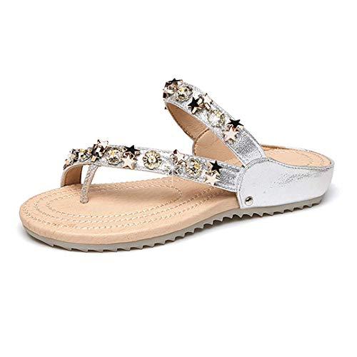 Rebecca Women's Rhinestone Crystal Shining Stars T-Strap Slide Sandals Simple Open Toe Flip Flops Flat Slippers Silver