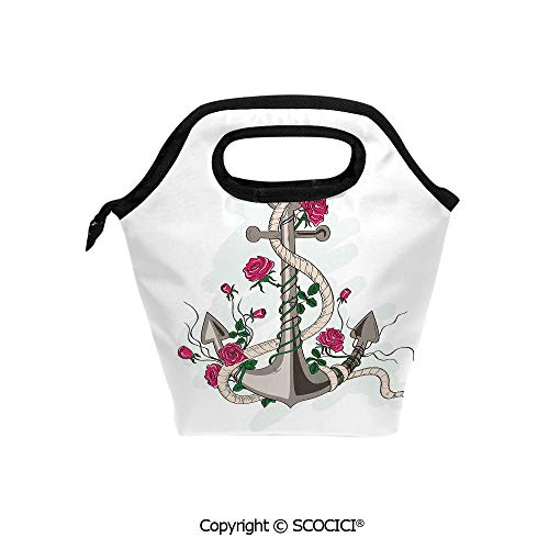 (Portable thickening insulation tape Lunch bag Romantic Hand Drawn Style Marine Icon Entwined with Rose Flowers and Rope Decorative for student cute girls mummy bag.)