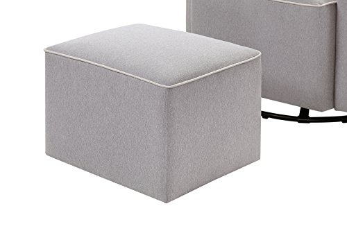 41LJUo3B29L - DaVinci Olive Upholstered Swivel Glider With Bonus Ottoman In Grey With Cream Piping, Greenguard Gold Certified