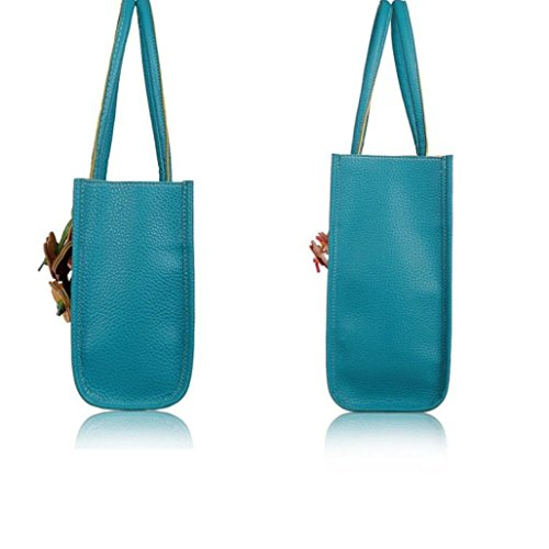 Leather Elegant Fashion Handbags Tote Blue Fulltime TM Women Flowers Color Candy Bag Girls Shoulder EqXwfgSW