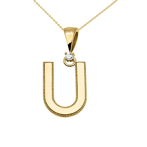 """Collier Femme Pendentif 10 Ct Or Jaune Poli Élevé Milgrain Solitaire Diamant """"U"""" Initiale (Livré avec une 45cm Chaîne)"""