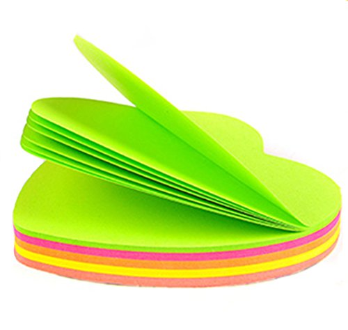 Super Sticky Notes, 3 in x 3 in, Heart Shape, fluorescent color collection,100 Sheets Per Pad Pack of 6 ()