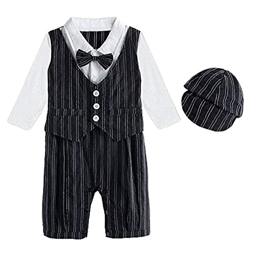 Mombebe Baby Boys' Gentleman Romper Infant Wedding Outfit with Hat (3-6 Months, Black-) ()