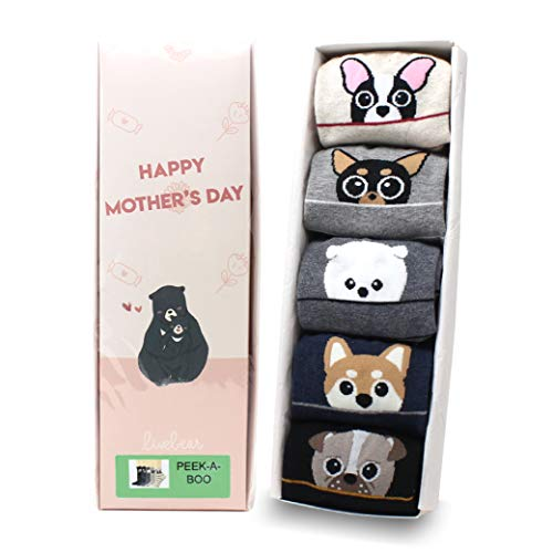 (LIVEBEAR Women's 4/5 Pair Cute Large Print Funny Novelty Crew Socks Made In Korea (Peek-a-Boo Mother's Day Gift))