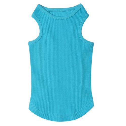Casual Canine Cotton Basic Ribbed Dog Tank Top, Medium, 16-Inch, Bluebird, My Pet Supplies