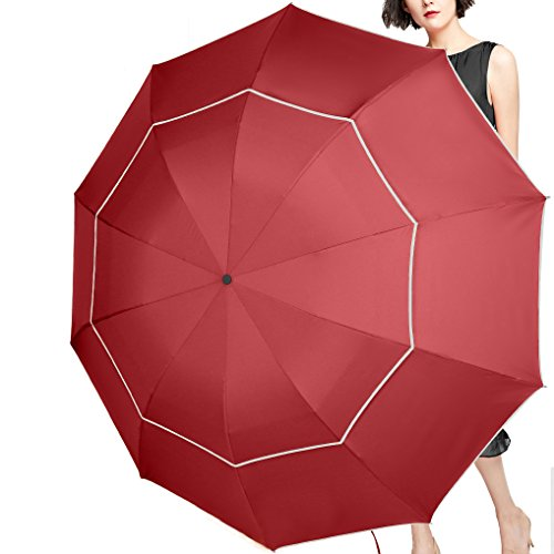 (SEEU 60 Inch Golf Umbrella Compact & Lightweight, 10 Ribs Rain/Wind Resistant Double Canopy Vented Golf-Sized Large Travel Umbrella with Small Folding Length 11.8inch)