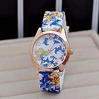 NeDonald Hot Fashion Women Dress Watch Silicone Printed Flower Causal Quartz Wristwatches
