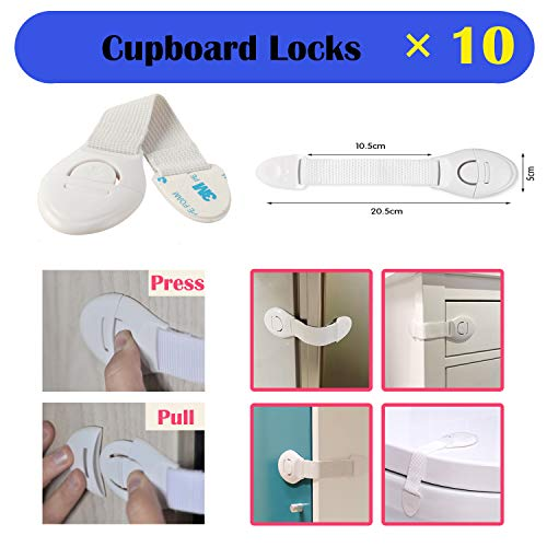 XinPei Baby Proofing Kit (48 Pcs) -20 Socket Covers + 10 X Cabinet Locks + 10 X Cupboard Locks + 4 X Rectangular Locks + 4 X Foam Door Stoppers