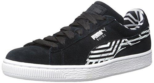 Puma Suede Classic + rayas de la zapatilla de deporte Black/White