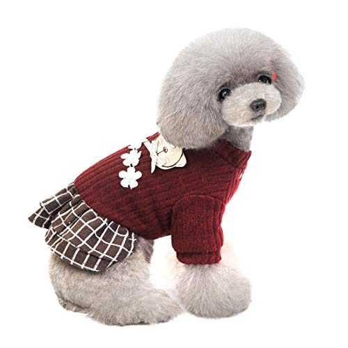 XMSJSIY Dog Sweater,Winter Warm Dog Dress Tutu Skirt,Dog Coat for Cold Weather, Cute Knitted Sweater Clothes,Pet Dog…
