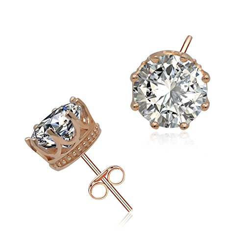 ACJNA Rose Gold Crown Stud Earrings 925 Sterling Silver Hypoallergenic 8MM