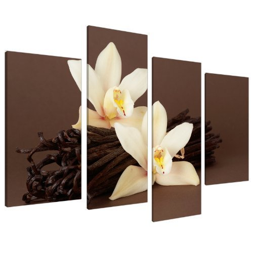 Brown and Cream Wall Art Decor Canvas Pictures for Living Room - Set of 4 Panels - 130cm / 51