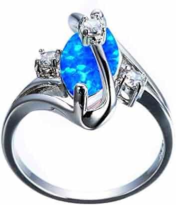Tanakorn Women Blue White Fire Opal Stone Ring 925 Silver Color Zircon Wedding Jewelry Promise