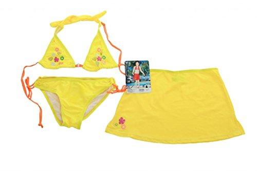 Rosa - 3 teiliges Mädchen Bikini mit Stickerei in Blumenmotiv - Badeslip, Triangel Oberteil und Strandrock - Gelb - Gr. 134-140 (10 Jahre)