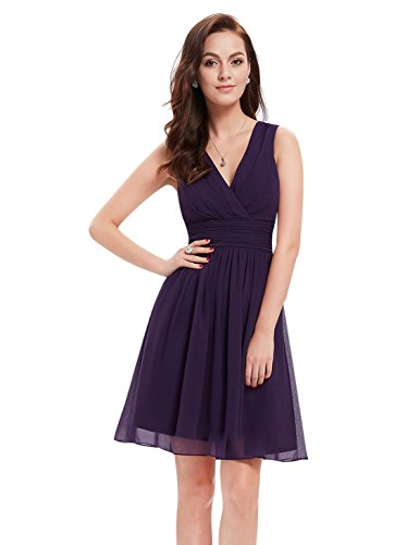 Ever-Pretty Womens Empire Waist Chiffon Wedding Guest Dress 8 US - Guest Purple Dress Wedding