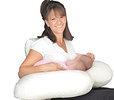 THE TWIN Z PILLOW - CREAM - 6 uses in 1 Twin Pillow ! Breastfeeding, Bottlefeeding, Tummy Time, Reflux, Support and Pregnancy Pillow! CUDDLE CREAM DOTS
