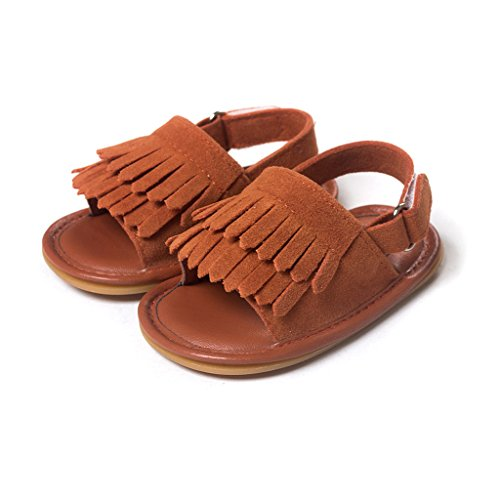 SCASTOE Toddler Baby Girls Soft Rubber Sole Anti Slip Summer Sandals with Moccasins Double Tassels Bronze